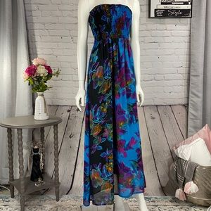 Fun&Flirt Floral Strapless Maxi Dress Size: Small